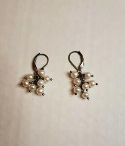 Sterling Silver Leverback Pearl Cluster  Drop Dangle Earrings