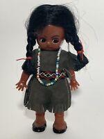 "Vtg Native American Indian Souvenir Plastic Doll 5 3/4"" Sleepy eyes, beads"