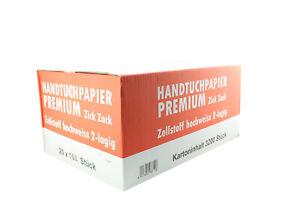 3.200 Handtuchpapier 2-lagig hochweiß Zellstoff Papierhandtücher ZZ-Falz