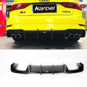 For Audi S3 A3 Sline Sedan 17-18 Carbon Fiber Rear Diffuser Spoiler K Style