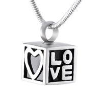 Memorial Love Locket Necklace Cremation Ashes Keepsake Urn Pendant Necklace