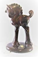 "Royal Haeger Pottery MCM Horse Figurine Brown Glaze With Green Mane & Back 8.25"""