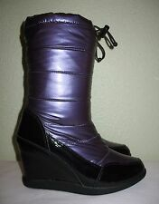 WOMENS PURPLE COUGAR SNOW RAIN WINTER WATERPROOF WEDGE BOOTS US 9 EUR 39 39.5 40