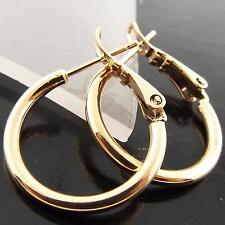 STUD HOOP EARRINGS GENUINE REAL 18K ROSE G/F GOLD CLASSIC UNISEX SLEEPER DESIGN