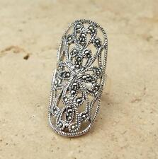 Beautiful large Marcasite 925 Sterling Silver Ring UK Size O 1/2-US 7 1/2