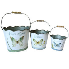 Set of 3 Metal Hanging Buckets with Handles Featuring a Chic Butterfly Print