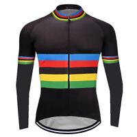 Men Cycling Long Sleeve Jersey Bib Bicycle MTB Bike Shirt Team Clothes Champion