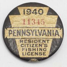 1940 PA Pennsylvania Fishing License Resident Button Vintage