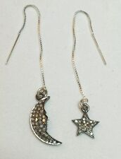 Pair .5ct pave diamond moon star solid 925 silver threader earring
