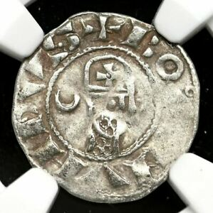 CRUSADERS. Bohemond III Silver Denier, 1163-1188 AD, NGC VF25, Rare bust right!