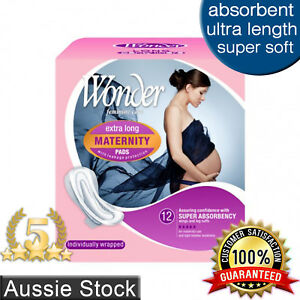 Maternity Pads with Wings Extra Long Ultra Absorbent 12pk Wonder Sanitary Pad
