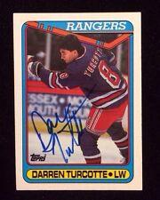 DARREN TURCOTTE 1990 1991 TOPPS Autographed Signed HOCKEY Card JSA RANGERS 48