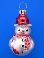 MINI SNOWMAN GERMAN BLOWN GLASS CHRISTMAS TREE ORNAMENT RED SCARF