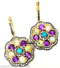 MAGNIFICENT HANDCRAFTED OPAL,AMETHYST,TURQUOISE & DIAMOND GOLD SILVER EARRING