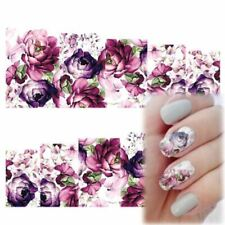 Beauty Purple Flowers Nail Stickers Nail Art Water Transfer Decals Manicure UK