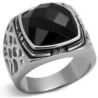 Black Octagon Cut Onyx  With Crystal Rhodium EP Mens Ring
