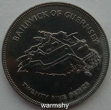 Great Britain UK Bailiwick of Guernsey 1977 Nickel Coin 25 Pence