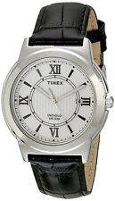 Timex Men's Analog Quartz Silver Tone Brass Black Leather Watch T2P520