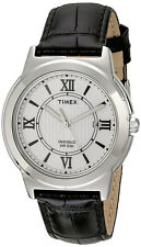 Timex Men's Analog Quartz Silver Tone Brass Black Leather Watch T2P520