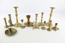 More details for 12 x vintage brass candlesticks / holders inc. matching pairs, ornate (3909g)