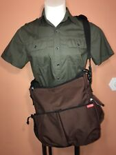 Skip Hop Duo Deluxe Diaper Bag Brown Unisex Shuttle Clips For Stroller