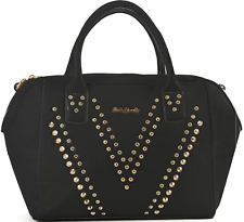 Black Synthetic Leather V-shaped Rivets Diamante Ladies Handbag Zip Closure