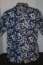 Maki's of Honolulu Hawaii Men's (L) 100% Cotton Blue/White Hawaiian Shirt.