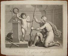 incisione stampa antica kupferstich Gloria Gloire t'appele Darcis 1794 gravure