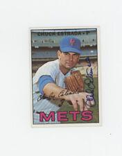 Chuck Estrada 1967 Topps # 537 New York Mets signed blue Sharpie  EX Beckett