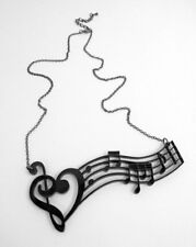 STATEMENT NECKLACE Acrylic Black & Silver Music Heart Notes Treble Clef 4.5 x 2""