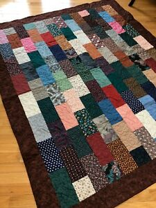 """Earth Tones Brick Quilt  Twin or Lap/Throw    60"""" X 71"""""""