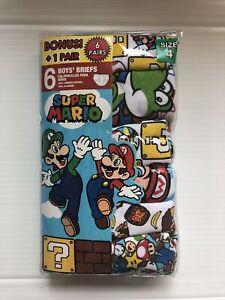 Handcraft Super Mario Bonus 6-Pack Boys Briefs Size: 4  100% Combed Cotton
