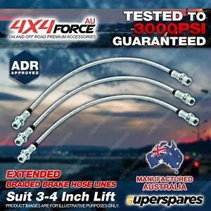 """3x F + R Braided Brake Hoses for Toyota Hilux LN106 RN105 YN106 88-95 3""""-4"""" Lift"""
