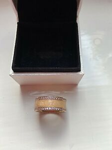 Hearts Of Pandora Rose Gold Plated Pink CZ Cream Enamel Wide Band Ring Size 56