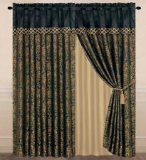 4-Piece Lisbon Jacquard Floral Window Curtain Set Black/Gold