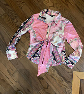 BOGO CHIC Mixed Print BUTTON TIE Bohemian Blouse Long Sleeves Multicolor Size L