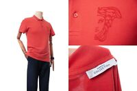 Men's VERSACE COLLECTION Half Medusa Hat Polo T-Shirt Size S Tomato color