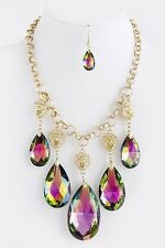 D11 Hoop Mystic Green Pink Chain Lion Pendant Gold Tone Statement Necklace