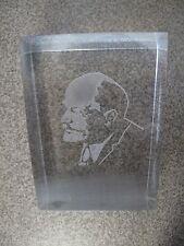 Russian Soviet Lucite Paper weight Lenin Portrait transparent vintage В.И. Ленин