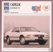 1992-1993 Cadillac Eldorado TC Car Photo Spec Sheet Info Stat French Atlas Card