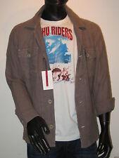 SIGNUM overshirt Camisa Chaqueta de manga larga tamaño S Marrón Lino NUEVO