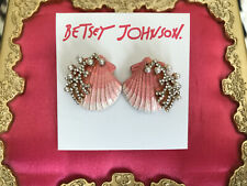 Betsey Johnson Festival Mermaid Pink Scallop Shell Coral Pearl Stud Earrings