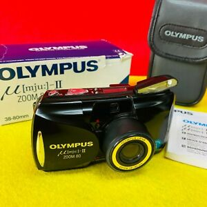 Black Olympus mju II 35mm Compact All Weather Film Camera f2.8 35mm with case.