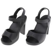 Handmade Plastic Doll High Heel Shoes for 1/4 BJD Dolls DIY Dress up Black