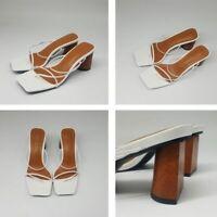 Wood Heel Slipper Women Sandals Vintage Square Toe Narrow Band High Heel Shoes