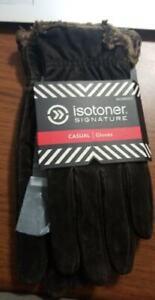 M Isotoner Women's Microluxe Pigsplit Glove with Gathered Wrist MEDIUM (B66)