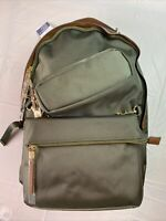 Tommy Bahama 3 Pc Set Backpack Crossbody Pencil Bag Army Green Tan Canvas NEW!