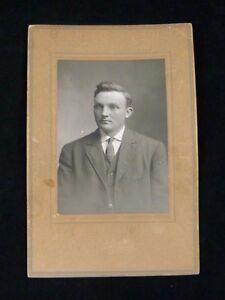 Antique Photo Studio Portrait Man in Suit ~1910 Dorge Minneapolis Heavy Card 6x9