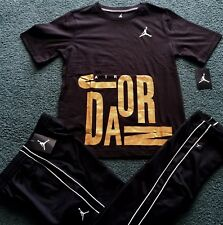 NWT Nike Air Jordan Boys YLG Black/White/Gold BASKETBALL Pants Set Large