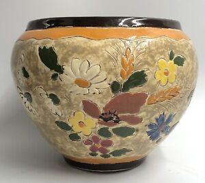 A.MASSIER VALLAURIS Cache-pot faience décor floral